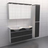 Granitgrå med aluminiumgrepp Källa Frid 120 cm dubbel, Spegelskåp, Ja + 30 cm