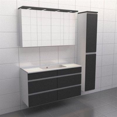 Granitgrå med aluminiumgrepp Källa Spegelskåp, Ja + 30 cm