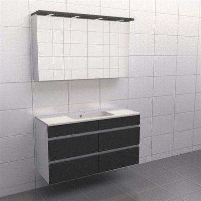 Granitgrå med aluminiumgrepp Källa Spegelskåp, Nej