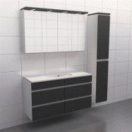 Granitgrå med aluminiumgrepp Källa Balans 120 cm, Spegelskåp, Ja + 30 cm