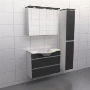 Granitgrå med aluminiumgrepp Källa Frid 90 cm center, Spegelskåp, Ja + 30 cm