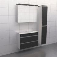 Granitgrå med aluminiumgrepp Källa Lugn 90 cm, Spegelskåp, Ja + 30 cm