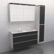 Granitgrå med aluminiumgrepp Källa Vila 120 cm dubbel, Spegelskåp, Ja + 30 cm