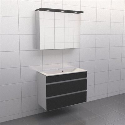 Granitgrå med aluminiumgrepp Källa Vila 90 cm, Spegelskåp, Nej