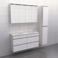 Vit med aluminiumgrepp Källa Lugn 120 cm dubbel, Spegelskåp, Ja + 30 cm