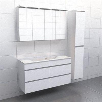 Vit med aluminiumgrepp Källa Vila 120 cm center, Spegelskåp, Ja + 30 cm