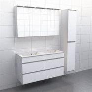 Vit med aluminiumgrepp Källa Vila 120 cm dubbel, Spegelskåp, Ja + 30 cm