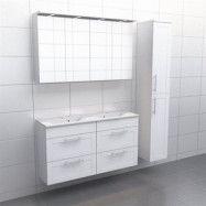 Vit ram Källa Lugn 120 cm dubbel, Spegelskåp, Ja + 30 cm