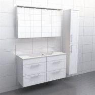 Vit ram Källa Vila 120 cm center, Spegelskåp, Ja + 30 cm