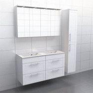 Vit ram Källa Vila 120 cm dubbel, Spegelskåp, Ja + 30 cm