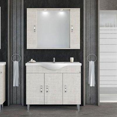Möbelpaket Alba 100 beige med spegelskåp (2 skåp)