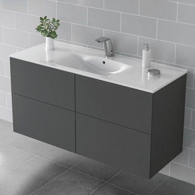 Kommod med tvättställ IDO Elegant 1200 mm, Grå