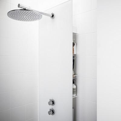 INR FRONT Glas Rund Takdusch - Blandarvägg vit  inkl termostatblandare