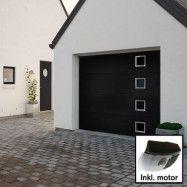 Norgate takskjutport Plus Trend - Svart med fönster 240 x 214 med enkelskena, Med motor