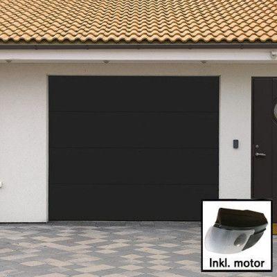 Plus Trend - Svart Norgate takskjutport 240 x 214 med enkelskena, Med motor