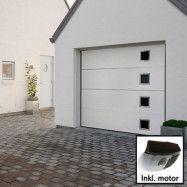 Norgate takskjutport Plus Trend - Vit med fönster 240 x 198 med dubbelskena, Med motor