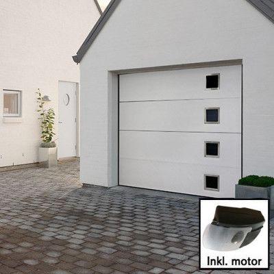 Plus Trend - Vit med fönster Norgate takskjutport 240 x 198 med enkelskena, Med motor