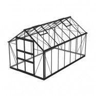 Växthus Odla 11,4 - 14,1 m² 11,4 m², Svart, Säkerhetsglas