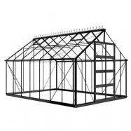 Växthus Odla 11,4 - 14,1 m² 14,1 m², Svart, Säkerhetsglas