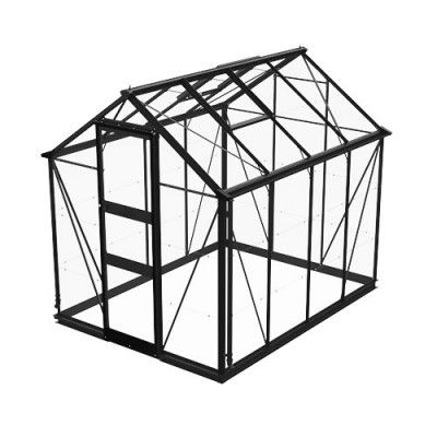 Växthus Odla 4,9 - 6,0 m² 4,9 m², Svart, Glas