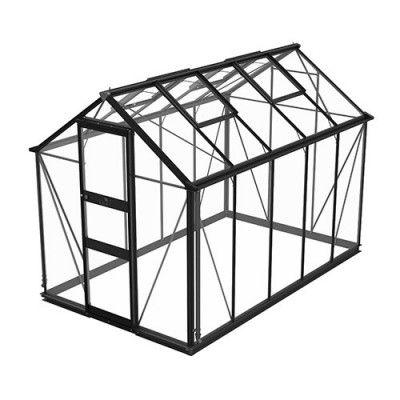 Växthus Odla 4,9 - 6,0 m² 6,0 m², Svart, Säkerhetsglas