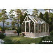 Växthus Emilia med fundament 8,2 m² – Gråbehandlat trä - Härdat glas