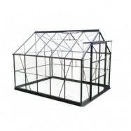 Växthus Rhea - Svart med härdat glas - 7,4 kvm